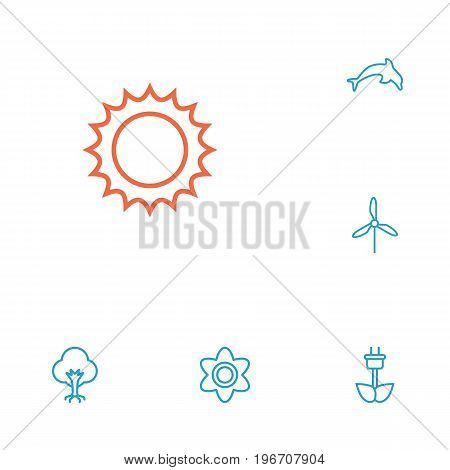 Collection Of Sun, Wood, Electric Mill And Other Elements.  Set Of 6 Natural Outline Icons Set.