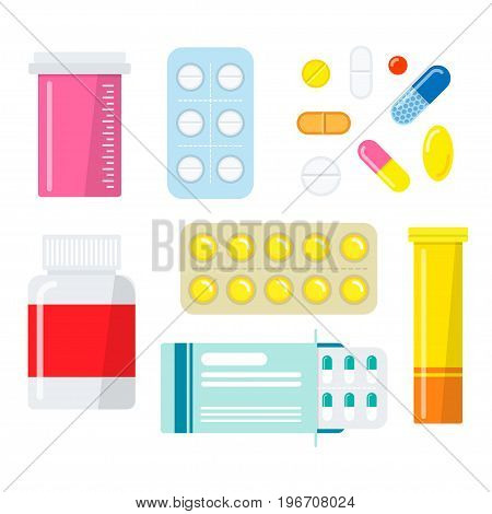 Pills and capsules set. Pharmaceuticals dosage, drug store poster, medical concept. Vector flat style cartoon illustration isolated on white background