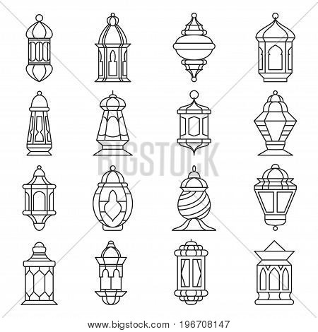 Ramadan lantern set. Islamic lamp or light, muslim traditional fanoos line art. Vector flat style illustration isolated on white background