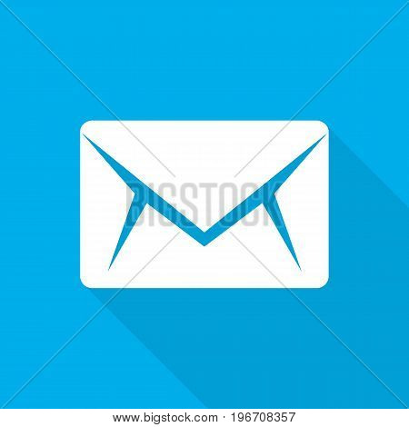 Envelope icon in flat design. Vector illustration. White envelope icon with long shadow on blue background
