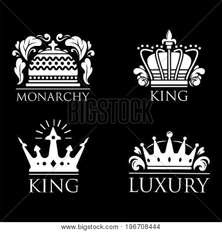 Crown king vintage premium white badge heraldic ornament icon tiara logo and luxury emblem kingdom princess baroque vector illustration. Insignia medieval antique decoration retro style.