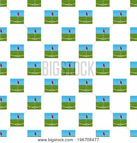 Soccer field corner with red flag pattern seamless repeat in cartoon style vector illustration