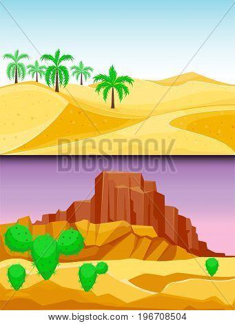 Desert mountains sandstone wilderness landscape background dry under sun hot dune scenery travel vector illustration. Environment scene sandstone africa outdoor adventure.