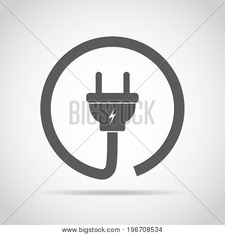 Wire plug icon in flat design. Vector illustration. Wire plug in the circle. Concept of connection and disconnection of the electricity.
