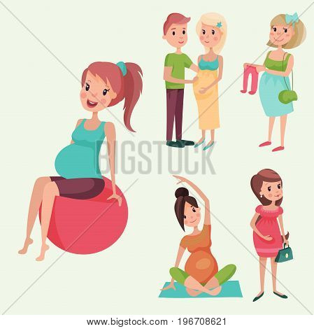 Pregnancy motherhood people and expectation concept happy pregnant woman character life with big belly vector illustration. Mother beautiful abdomen expectant parenthood.