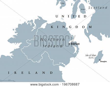 Northern Ireland political map with capital Belfast. Country of the United Kingdom in the northeast of the island of Ireland. Gray illustration isolated on white background. English labeling. Vector.