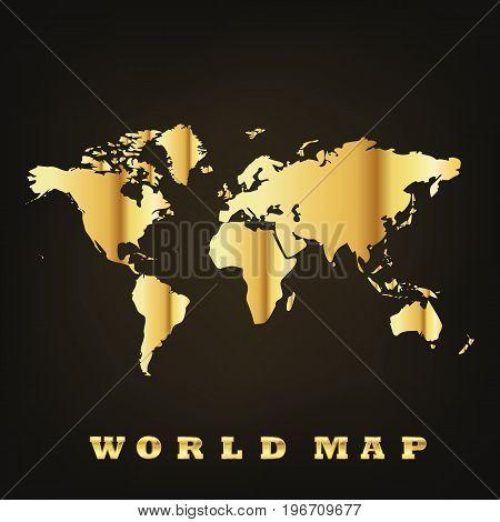 Golden world map on dark background. Vector illustration. Glossy world map.