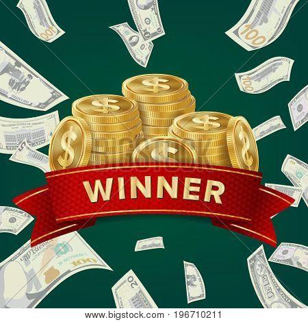 Casino Winner Vector Background. Coins And Dollars Money. Jackpot Prize Design. Winner Concept Illustration.