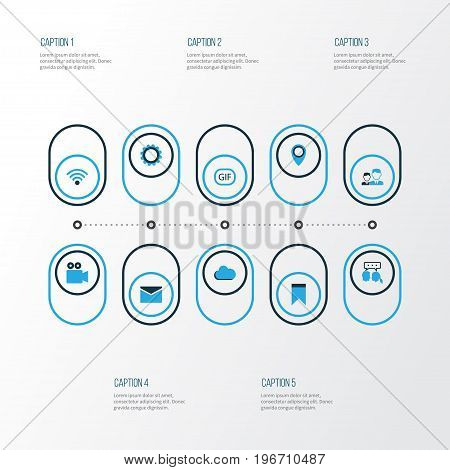 Internet Colorful Icons Set. Collection Of Animation, Wifi, Location And Other Elements