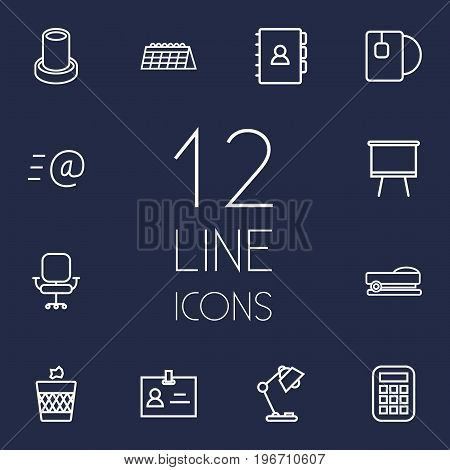Collection Of Board Stand, Tea, Chair Elements.  Set Of 12 Bureau Outline Icons Set.