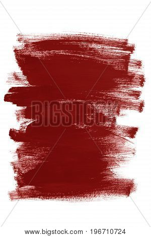 Red paint abstract brush strokes on white background