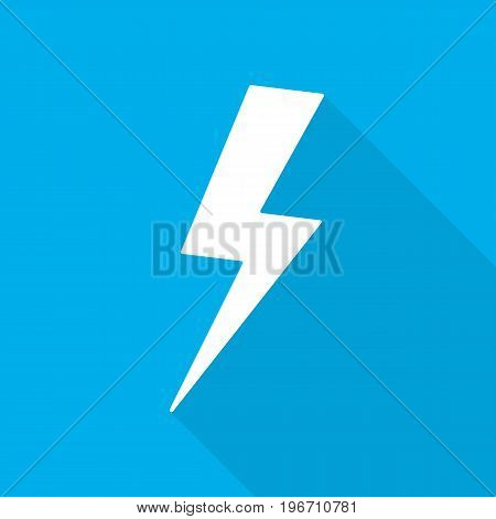White lightning icon in flat design. Vector illustration. Symbol of lightning with long shadow on blue background.