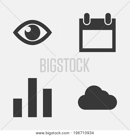Interface Icons Set. Collection Of Date, Eye, Column And Other Elements