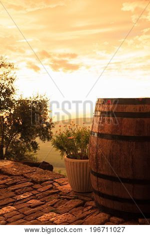 View of barrel on stone street of Motovun Istria. Croatia