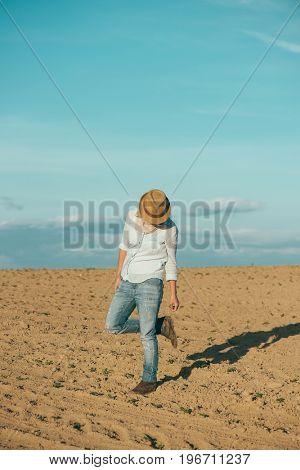 Turist woman outdoors. Traveler woman on vacation.
