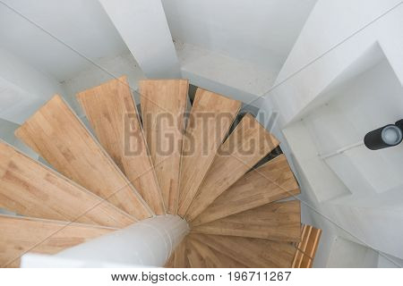 wooden spiral stair from house modern interior.