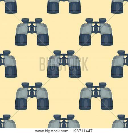 Professional seamless pattern lens binoculars glass look-see spyglass optic device camera digital focus optical equipment vector illustration. Lorgnette night-vision technology look-see instrument.