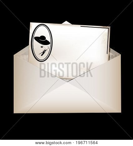 dark background vintage beige-colored card with retro stylized image of smoking lady in the old envelope