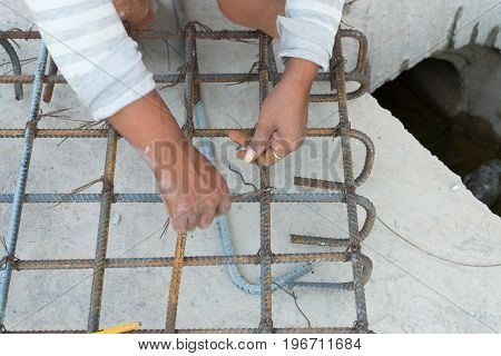 Pincers And Steel Wire Fixing Rebar.