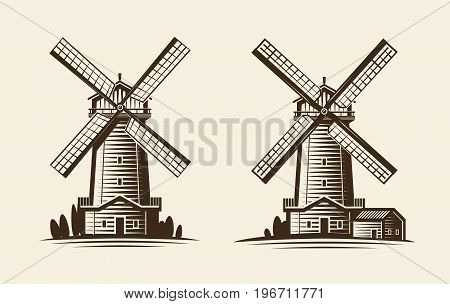 Old wooden mill, windmill logo or label. Agriculture, farming, agribusiness icon Vintage