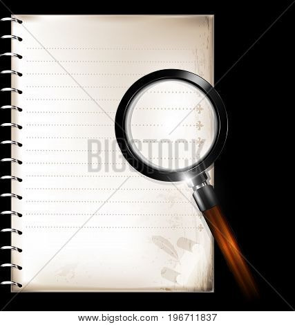 dark background retro stylized sheet of paper retro notebook and black magnifying glass