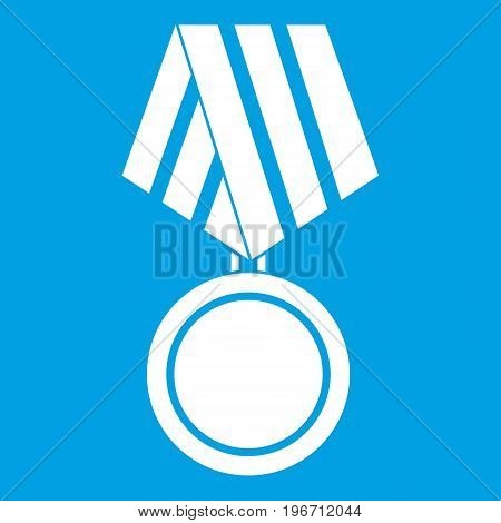 Military medal icon white isolated on blue background vector illustration