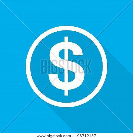 White Dollar icon in flat design. Vector illustration. Symbol of Dollar with long shadow on blue background.