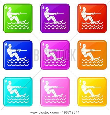 Water skiing man icons of 9 color set isolated vector illustration