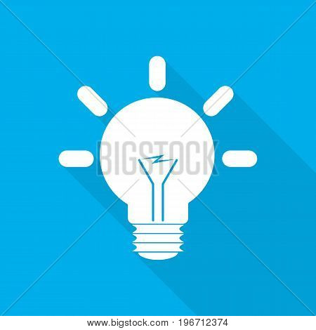 White light bulb icon in flat design. Vector illustration. Symbol of light bulb with long shadow on blue background.