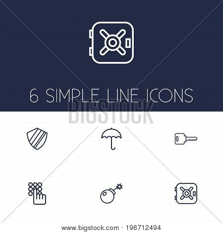 Collection Of Protection, Keypad, Parasol And Other Elements.  Set Of 6 Procuring Outline Icons Set.