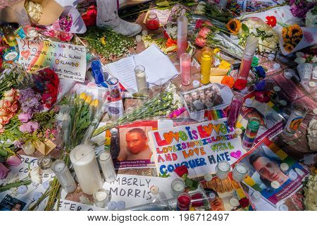 ORLANDO, USA - MAY 05, 2017: Place where Omar Mateen, killed 49 people and wounded 53 others in a terrorist attack hate crime in a gay nightclub in Orlando, Florida, United States.