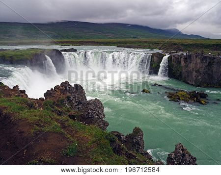 Iceland Famous Godafoss Waterfall In A Rainy Day