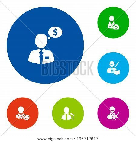 Collection Of Cameraman, Vocalist, Money Agent And Other Elements.  Set Of 6 Job Icons Set.