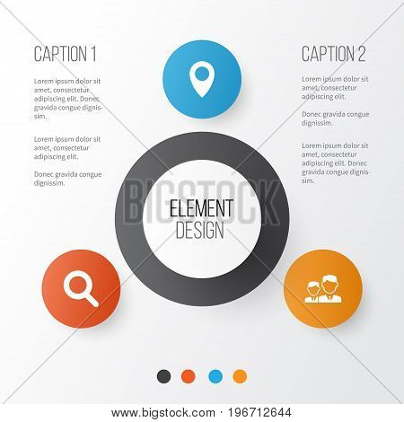 Social Icons Set. Collection Of Pin, Magnifier, Partnership And Other Elements