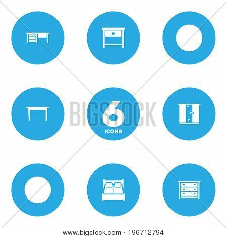 Collection Of Bedside Table, Bedroom, Commode And Other Elements.  Set Of 6 Situation Icons Set.