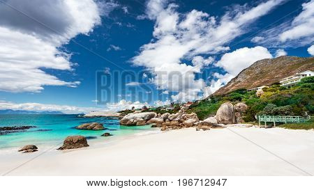 South African beach landscape, Boulders beach nature reserve, Siamon's Town, Western Cape, South Africa