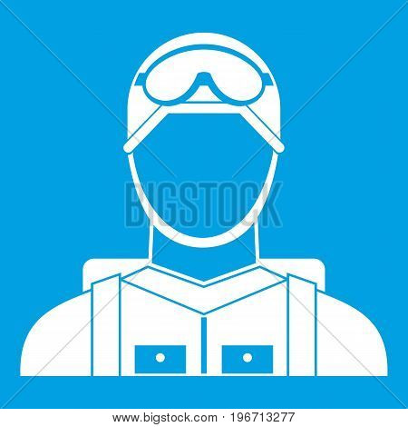 Military paratrooper icon white isolated on blue background vector illustration
