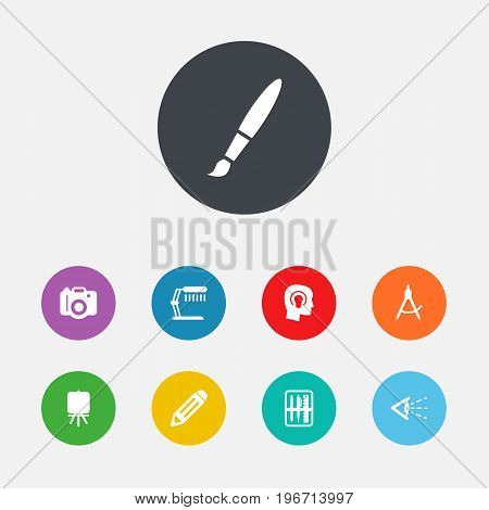 Collection Of Idea , Stand , Photo Elements.  Set Of 9 Creative Icons Set.