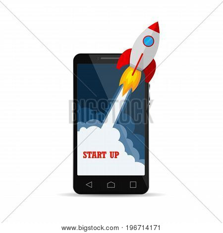 The spacecraft crashes outside smartphone screen. New business project startup development and launching new product or service. Vector illustration.