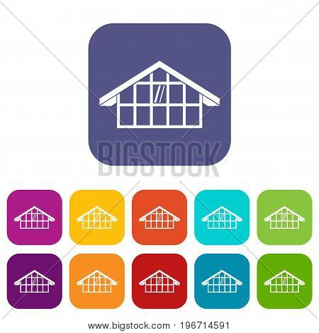 Warehouse icons set vector illustration in flat style in colors red, blue, green, and other