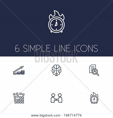 Collection Of Grid Structure, Research, Brain And Other Elements.  Set Of 6 Startup Outline Icons Set.