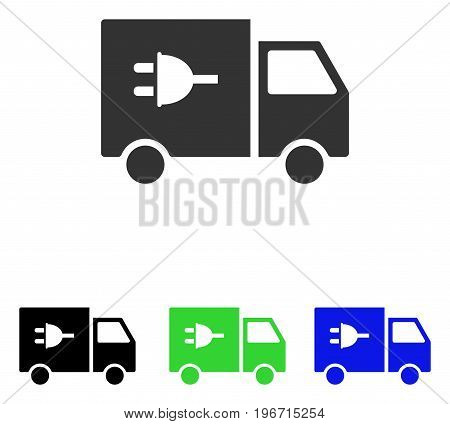 Electric Car vector pictogram. Illustration style is a flat iconic colored symbol with different color versions.