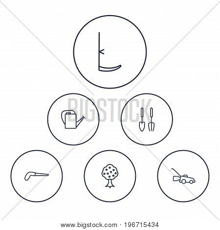Collection Of Instruments, Scythe, Bailer And Other Elements.  Set Of 6 Horticulture Outline Icons Set.