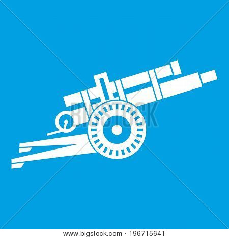 Artillery gun icon white isolated on blue background vector illustration