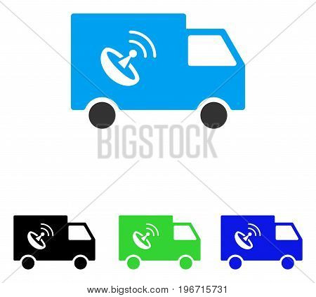 Remote Control Van vector pictogram. Illustration style is a flat iconic colored symbol with different color versions.