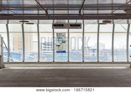 London UK - May 24 2017 - Poplar Docklands Light Railway station exit