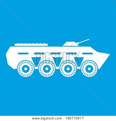 Army battle tank icon white isolated on blue background vector illustration