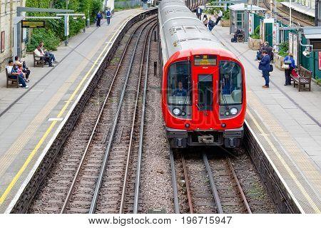 West Brompton Underground Station Platforms, With Northbound Train Arriving