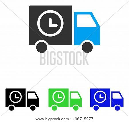 Shipment Schedule Van vector pictogram. Illustration style is a flat iconic colored symbol with different color versions.