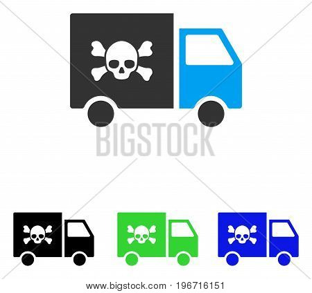 Toxic Transportation Car vector icon. Illustration style is a flat iconic colored symbol with different color versions.